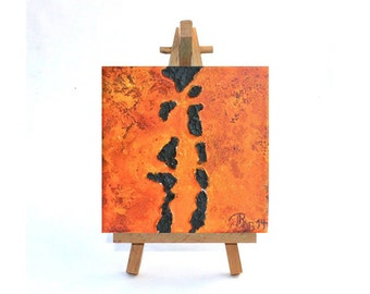 "Abstract on canvas 10 x 10 x 3,5 cm original painting mixed media 3,937x 3,937x1,38"" orange"