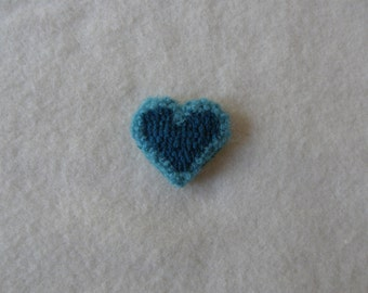Hooked heart pin - teal