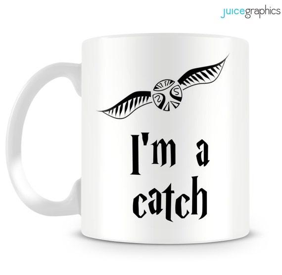 il 570xN.605990411 kdze Harry Potter inspired mug. I'm a catch. Snitch design by JuiceGraphics