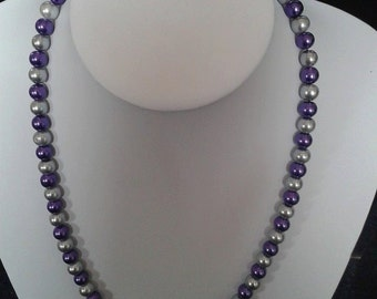 purple and silver necklace using glass beads