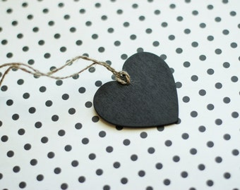 Heart Shaped Chalkboard Gift Tag / Wine Charms  pk25
