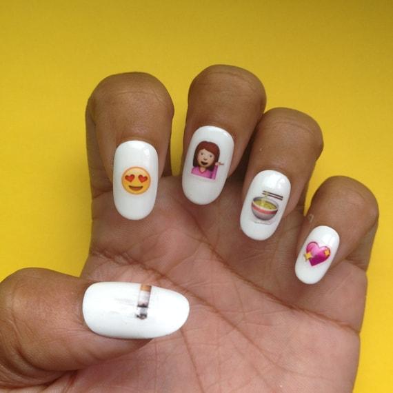 Emoji nail art designs : Emoji nail decals art designs by ganjagurl on etsy