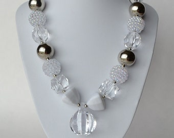 Silver & Clear CHUNKY necklace with acrylic beads, tiger tail stringing, and metal toggle clasp