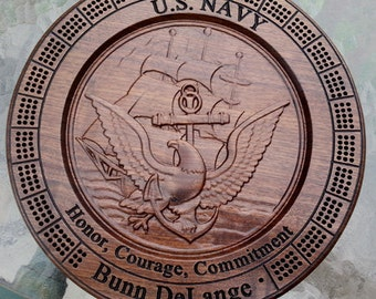 Personalized Navy Retirement Gift Military Cribbage Board Games Navy 5th Anniversary Navy logo NR1