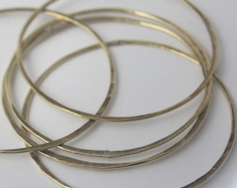 Brass Bangles, SET OF 5, Handmade hammered wire yellow brass stacking Bangles, faux gold bracelets, Statement jewelry