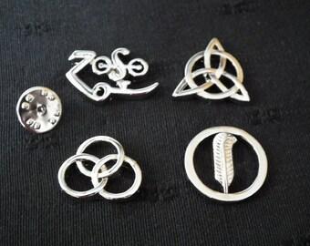 Led Zeppelin Runes 4 Symbols Badges with locking Clips