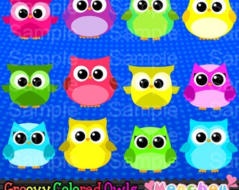 Groovy Colored Owls - For Commercial and Personal Use Cliparts