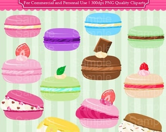 Fancy Macaron Clipart Set - Colorful Macaron Cliparts - For Commercial and Personal Use Cliparts