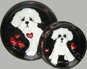 Hand Painted Ceramic Pet Bowl - Maltese Set