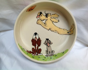 "Hand Painted Ceramic Pet Bowl - ""Frisbee"""