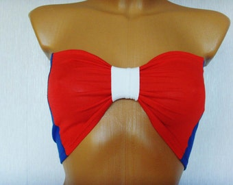 American Flag Sport Bandeau Underwear Yoga Beach Bra Tube Strapless Top Bralette In Blue Red And White Bow USA American Flag