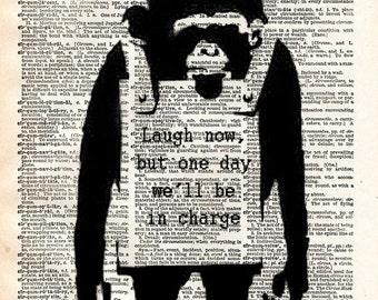 Banksy wall art, Laugh now, monkey print,  dictionary art print