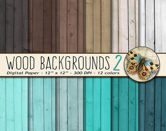 Wood Digital Paper, Wood Background Paper, Wood Textures in Teal and Brown, Wood Photo Backdrops