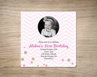 Gold Confetti Invitation with photo. DIY- Printable