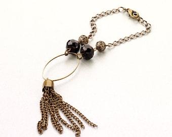 Bracelet pompon black & bronze