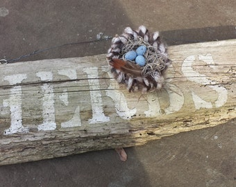 Hand-Knit Bird Nest with Hand-Painted Wooden Eggs