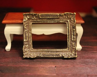 DOLLHOUSE MINIATURE Picture Frame, Painted With Gold Detail