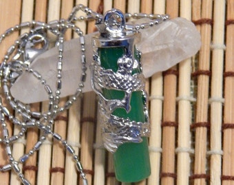 """1 1/2"""" Deep Green Jade Carved Dragon Pendant Necklace with Chain"""