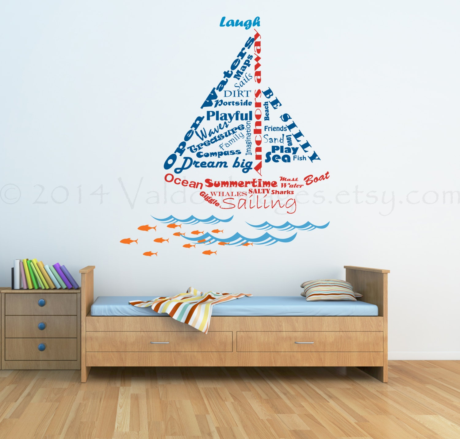 sailboat shape nautical wall decal word cloud by valdonimages. Black Bedroom Furniture Sets. Home Design Ideas