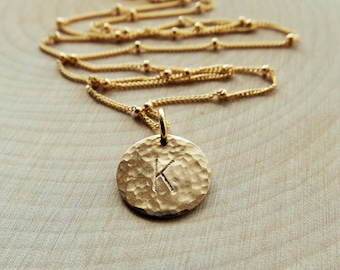 Hand Stamped Hammered Gold Initial Necklace // Satellite Chain