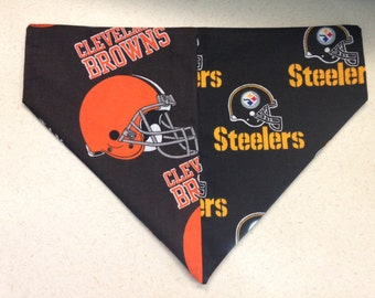A Dog Divided Cleveland Browns & Pittsburgh Steelers Dog Bandanna in Small, Medium, or Large