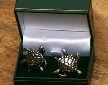 Sea Turtle Cufflinks Pewter UK Handmade Marine Nature Gift