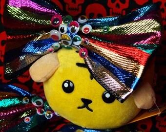 Crazy googly EYES bright sparkle stripe HAIR BOW decora kei