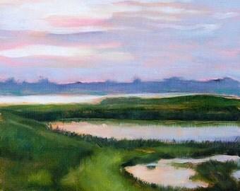 Marsh landscape, sunset painting, coastal art print, modern landscape, fine art print by Paula Prass, available in 5x5, 6x6 or 8x8 size