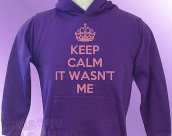Purple Hoodie Keep Calm IT WASN'T ME boys girls hoody toddler