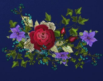 "Floral painting print, Original digital painting ""Pink Metallic Rose on Blue"",  A floral painting with a beautiful blue background!"