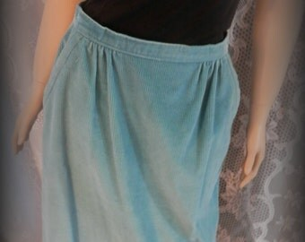 Vintage Union made skirt, !970s skirt, Corduroy teal skirt, Plus size 14 skirt, Long skirt