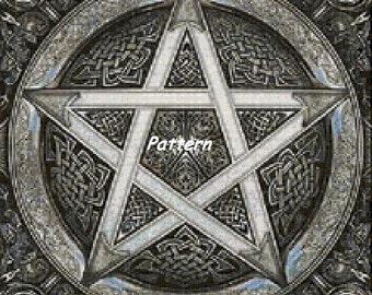 Celtic pentagram. Cross Stitch Pattern. PDF Files.