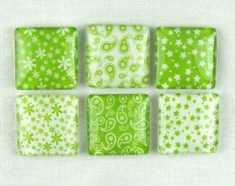 Set of Six Magnets Paisley Stars and Flowers in Light Green