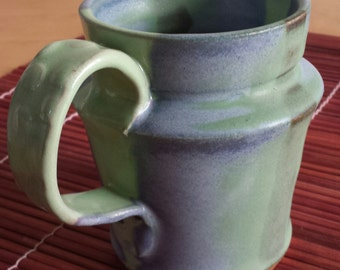 Ceramic Mug with Handle Glossy Green Matte Blue and Green Glaze Cone 10 M10003