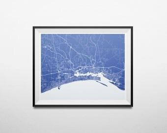 Mississippi Gulf Coast, Gulfport, Biloxi, Ocean Springs Abstract Street Map Print