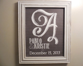 Custom Chalkboard Print || Initial Monogram Print || Wedding Gift || Personalized Art || Anniversary Gift || Special Occasion
