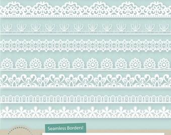 Premium Lace Borders Vector, Lace Border Clip Art, Digital Lace Scrapbook Borders - White Lace by Amanda Ilkov