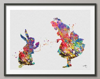 Alice and White Rabbit Alice in Wonderland Watercolor Print Archival Fine Art Print Wall Decor Art Home Decor Wall Hanging [NO 157]