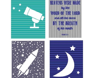 Outer Space Room Decor Digital Prints- Set of Four