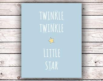 Twinkle Twinkle Little Star Printable Art Print Instant Digital Download Typography Lullaby Nursery Rhyme Baby Room Nursery Playroom Print