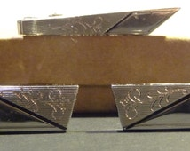 Vintage Silver Anson Cufflinks and Tie Clip - Signed