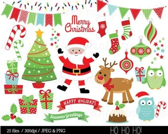 Christmas Clipart, Christmas Clip Art, Reindeer, Festive, Bunting, owl, tree, Merry Clip Art - Commercial & Personal - BUY 2 GET 1 FREE!
