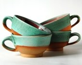 Pottery Soup Bowl in Turquoise & Red / Ceramic Bowl / Ceramic Big Cup