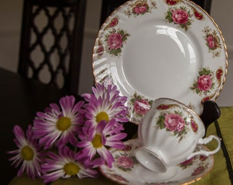 Clifton England Bone China  Set of Teacup, Saucer and Bread Plate