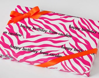 Personalized Wrapping Paper Personalized Gift Wrap Pink Zebra Birthday Gift Wrap Personalized Paper Paper Custom Wrapping Paper Girls Wrap