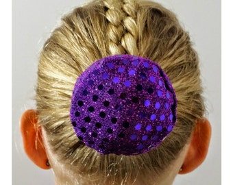Purple Sequin Hair Bun Cover Bundazzle