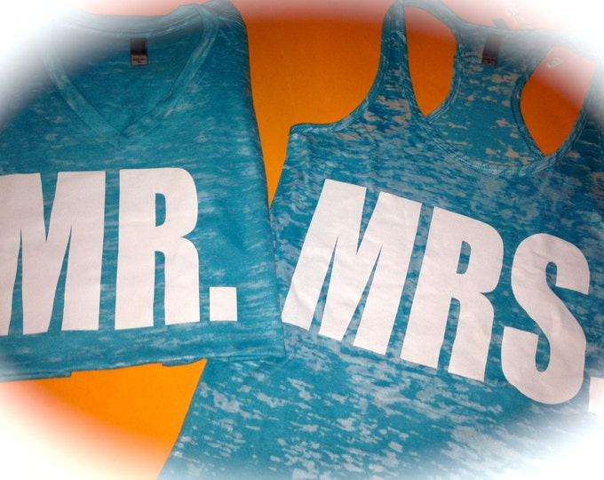Mr and Mrs Shirts. Bride and Groom Shirts. White Ink Bride and Groom T-shirts. Custom Mr and Mrs Shirts. Mr and Mrs Gifts. Wedding Shirts.