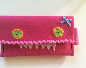 Monster felt and rubber purse