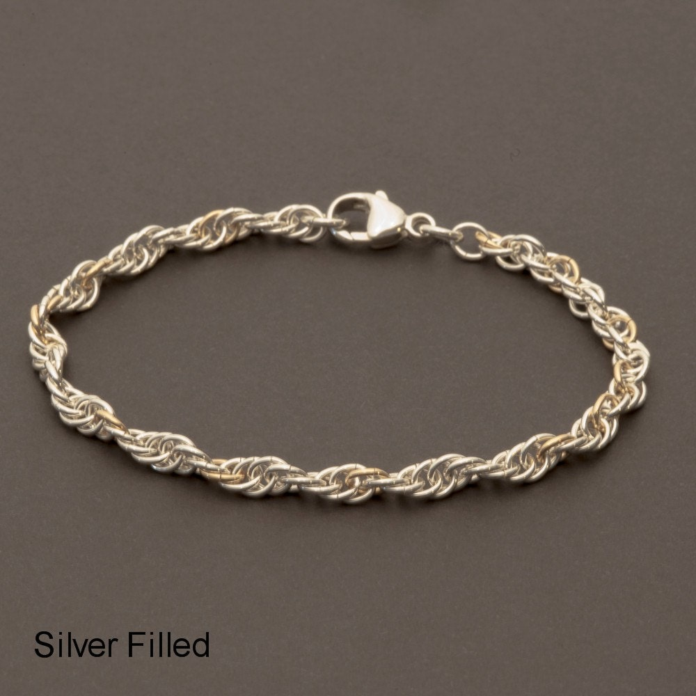 Silver Rope Bracelet: Silver Filled Spiral Rope Chain Bracelet Chainmaille