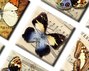 Digital Collage Sheet Vintage 1x1 inch size Butterflies Square  5.001